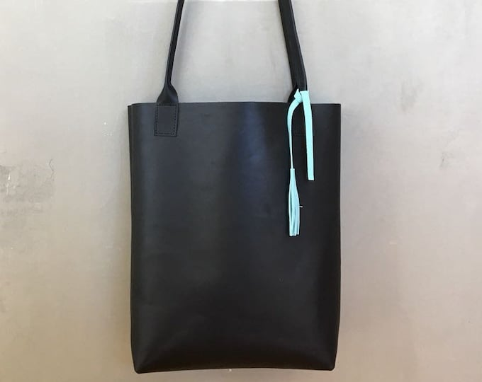 Large leather tote • black leather shopper / leather bag • black leather bag / black laether shopper • boho