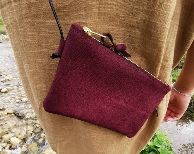 Mini bag : leather bag wine red / smartphone bag / crossbody bag / redberry clutch _ tiny bag ) gift for her