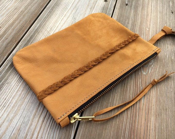 Senfgelbe leather clutch, leather cosmetic bag, Lederclutch, leather evening bag, leather case, wallet clutch, boho