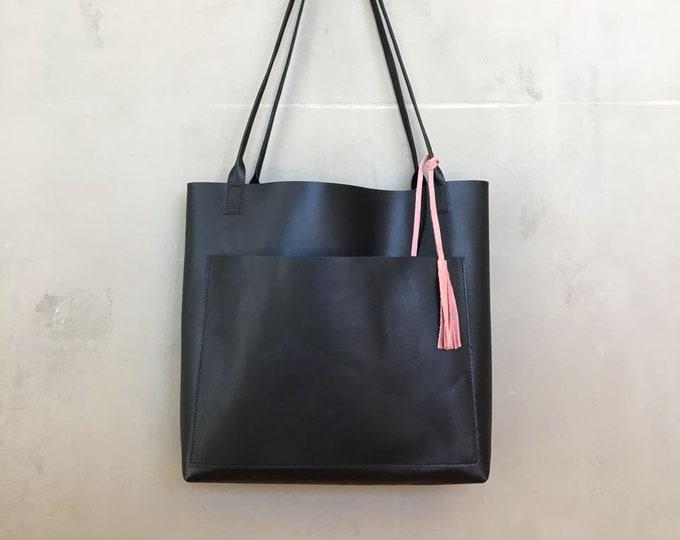 Black leather shopper / black leather bag / large leather tote • bag for every day • black leather bag • boho
