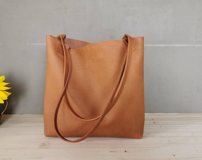 Camel brown shopper ) brown leather bag / large leather tote sword / camel brown leather bag ) boho