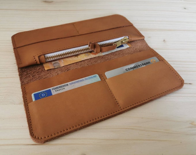 Camel Brown Wallet / Wallet / natural tanned wallet = Leather wallet = minimal