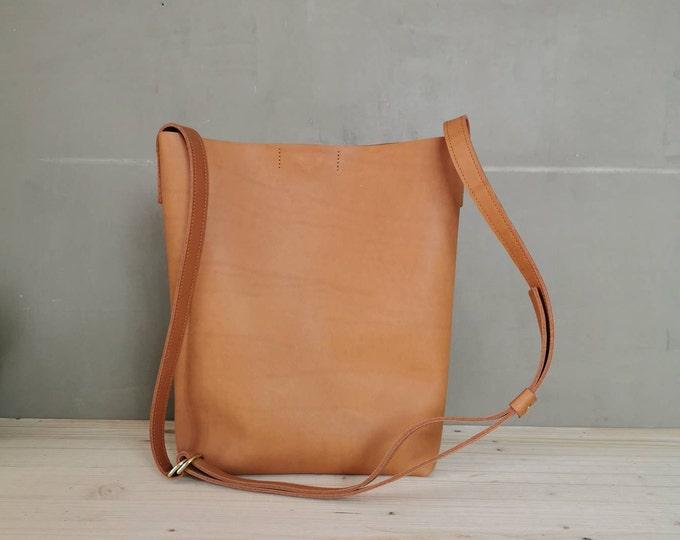 Camel Brown Leather Bucket Bag / leather Bucket Bag / Tote Bag / Boho Bag