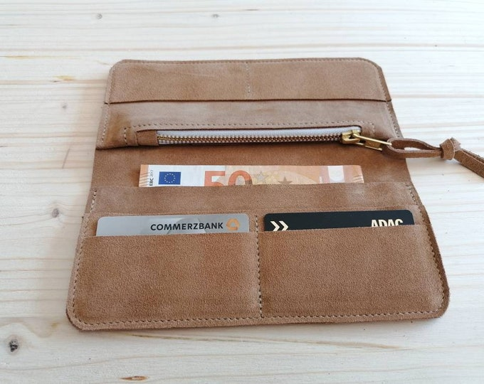 Suede Wallet / Wallet / Suede Leather Wallet / Beige Leather Wallet / Boho
