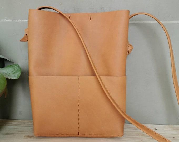 Camel Brown Leather Bucket Bag / Tote Bag / Boho Bag / Camel Leather Bag / Slouchy Leather Bag