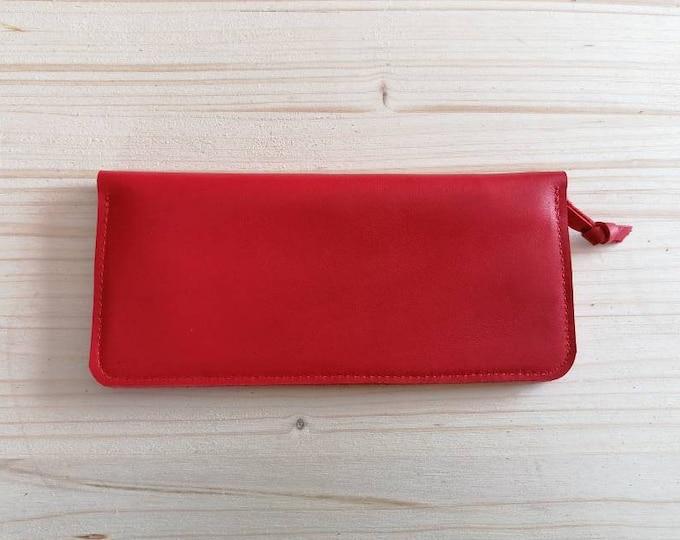 Red leather wallet / red wallet / Red leather wallet / Leather wallet / Ladies wallet