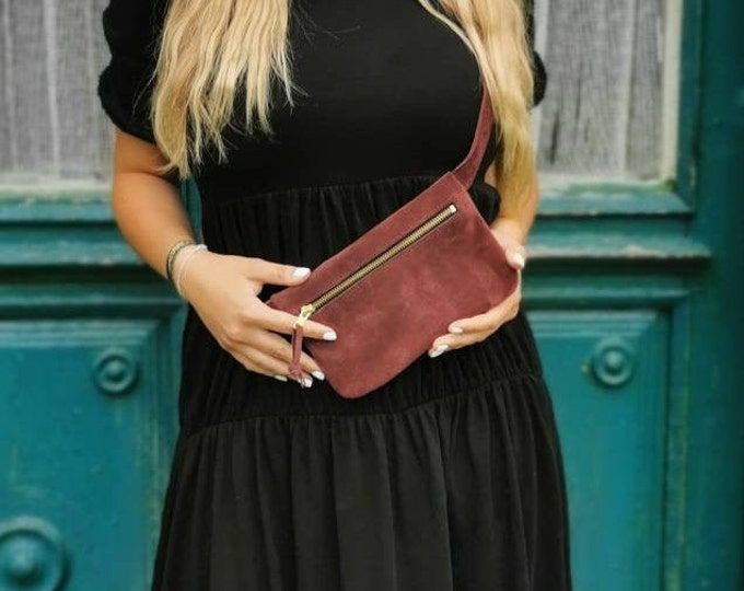 Suede belly bag / hip bag / hip bag / fanny pack / crossbody / suede leather bag _ Slouchy / tumblr