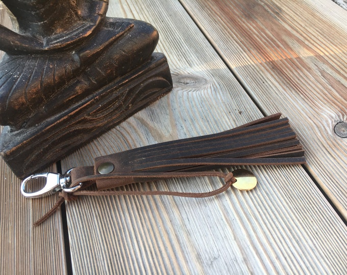 Leather key fob, leather tassel, boho leather accessory, last minute gift