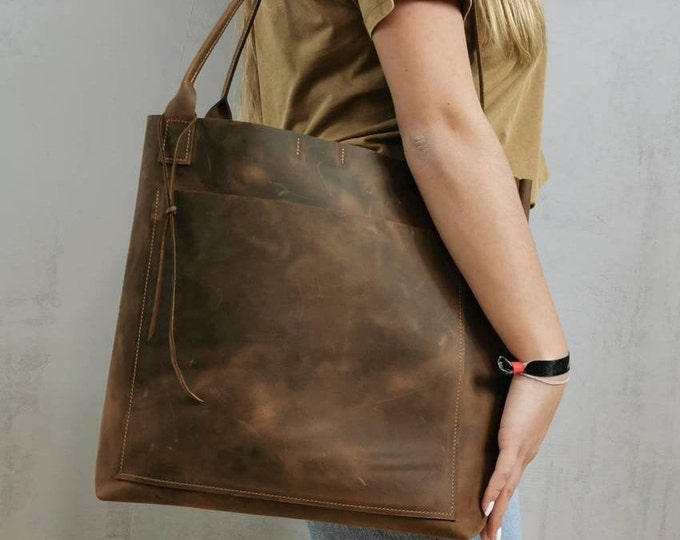 Brown Leather Shopper / Large Leather Tote / Bag for Every Day / Brown Leather Bag / Brown Leather Tote / Pull Up Leather Bag