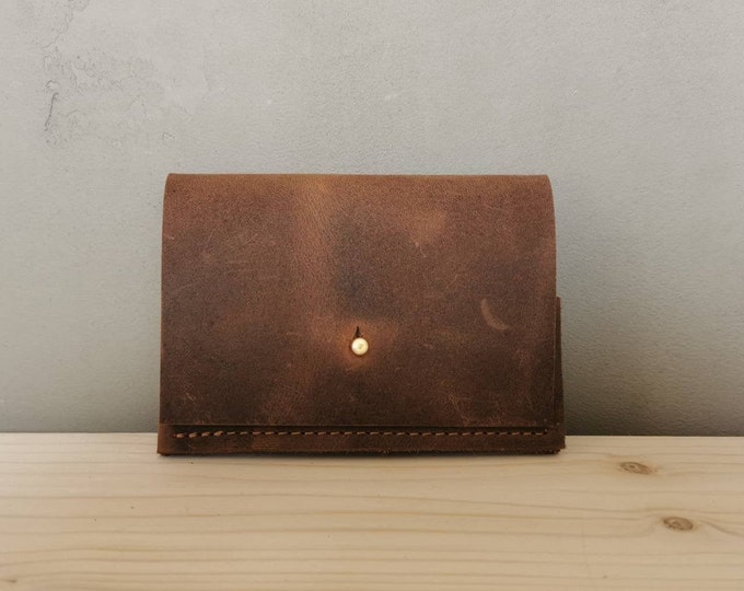 Brown mini leather wallet / small leather purse / leather card case / tiny wallet / pull up leather