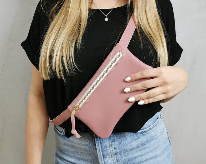 Pink leather belt bag / hip bag old pink / hip bag leather / Fanny pack / crossbody / festival bag / boom bag _ pink bag