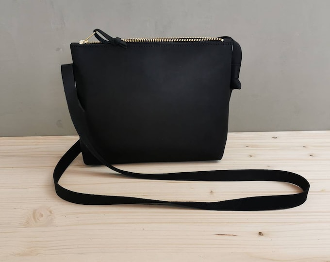 Small Crossbody Bag / Black Leather Bag / Festival Bag