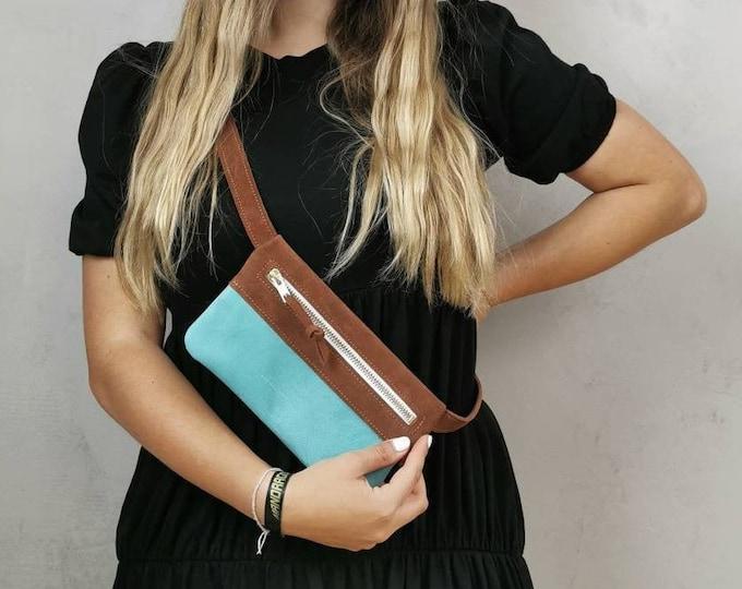 Suede belly bag / cognac leather belt bag / hip bag / fanny pack / crossbody / boom bag / slouchy bag _ tumblr