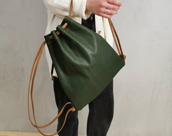 Women's Backpack / Gym Bag / Leather Gym Bag / Green Leather Bag / Slouchy Leather / Dark Green