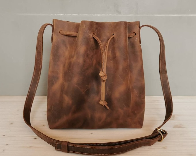 Leather Bucket Bag / Leather Bucket Bag / crazy horse Bucketbag / Brown Crossbody Bag