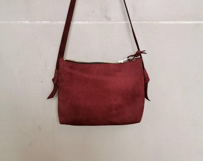 Small crossbody bag / red berry bag / Festival bag / leather shoulder bag / boho