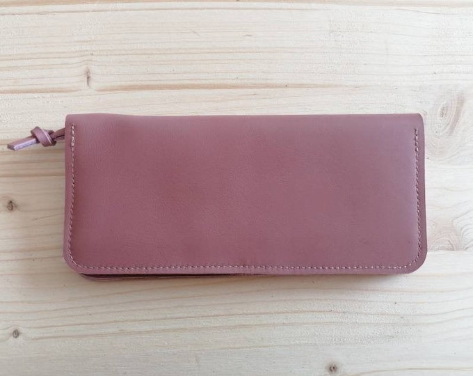 Pink Leather Wallet / Wallet / Pink Leather Wallet / Leather Wallet