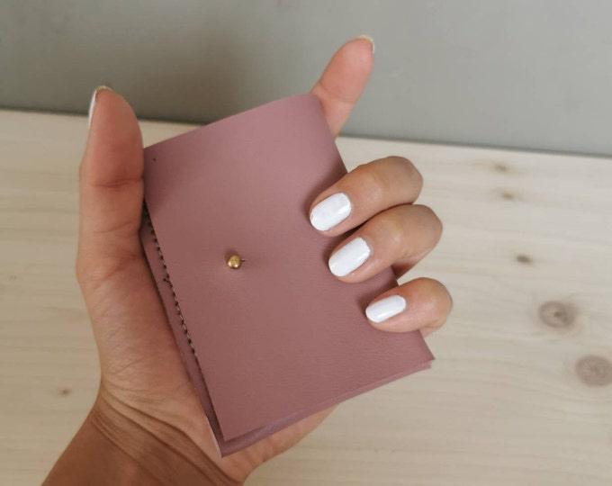 Mini leather wallet / small leather purse / leather card case / tiny wallet ) pink purse