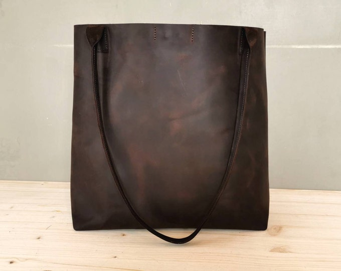 Dark brown leather shopper / brown leather bag / large leather tote | chestnut leather bag