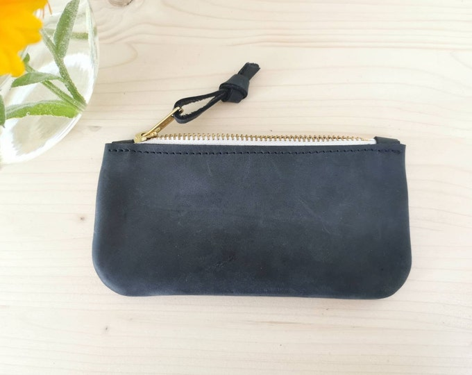 Small leather wallet / small leather clutch / dark blue leather purse / boho / small purse )