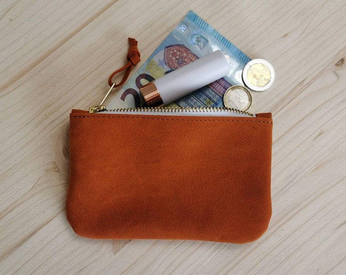 Small leather wallet / small leather clutch / orange leather purse / boho
