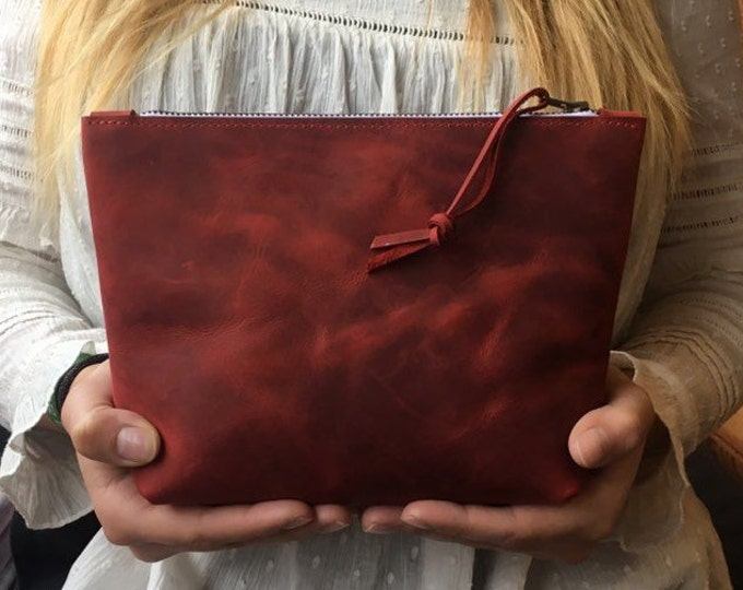 Real leather cosmetics bag, Leather cosmetic bag, red leather case
