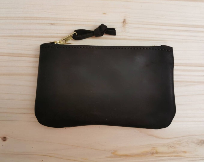 Small leather wallet / small leather clutch / dark brown leather purse / boho