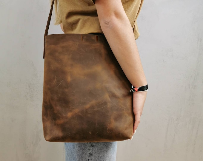 Brown leather bucket bag / leather bucket bag / crossbody bag / crazy horse leather bag / leather shopper / boho
