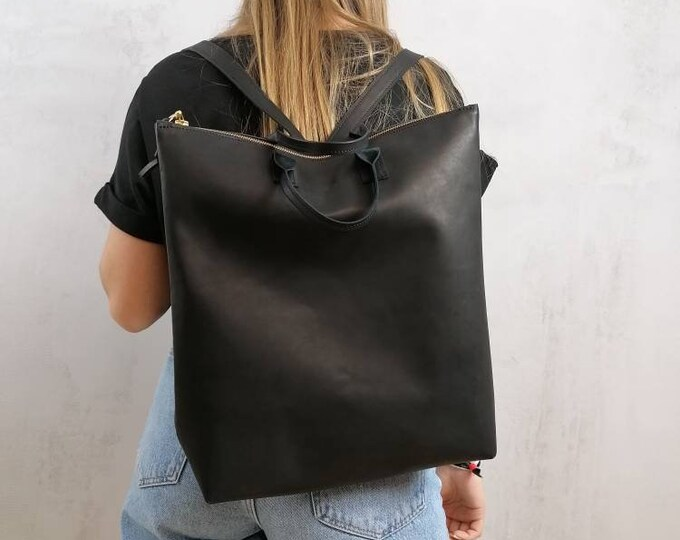 Minimalist leather backpack = women's backpack = black leather backpack = black leather backpack = minimal
