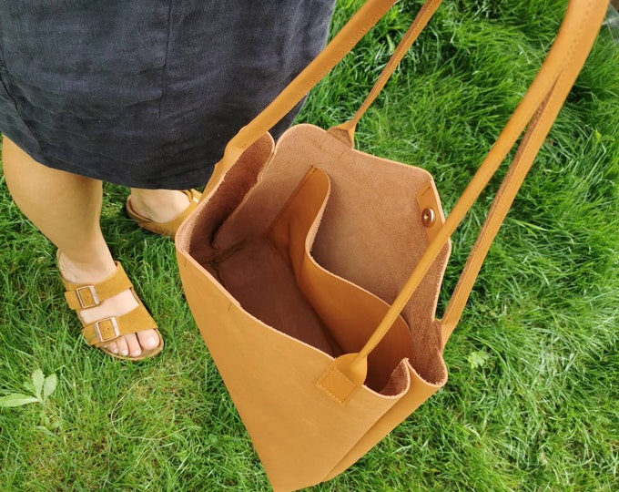 Camel brown shopper ) brown leather bag / large leather tote sword / camel brown leather bag ) boho