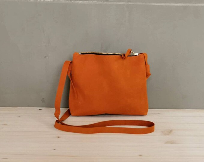 Small crossbody bag /Dark orange bag / Festival Bag / Leather shoulder bag / boho