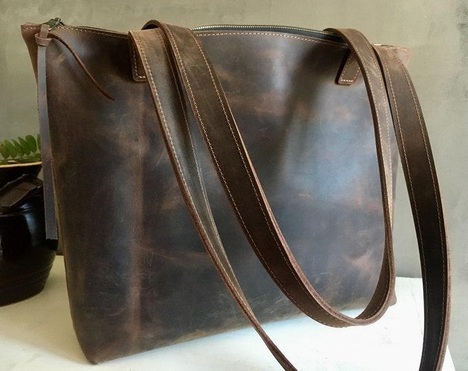 Tote bag, handbag, crossbody bag, brown leather shopper, boho bag, buisiness bag, zipper bag