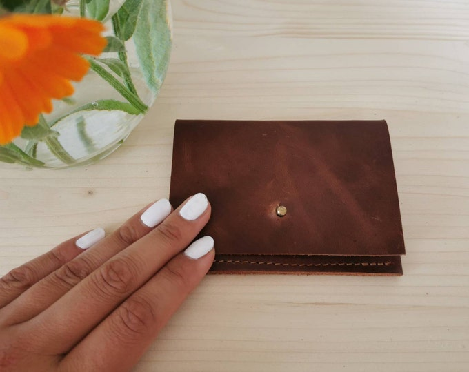 Mini leather wallet / small leather purse / leather card case / tiny wallet / unisex