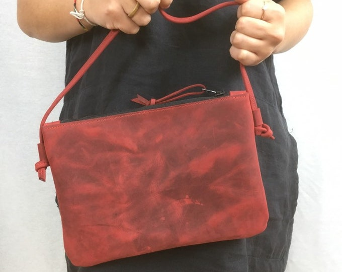 Red small shoulder bag//party bag real leather//Red Handbag