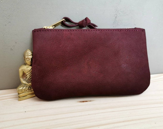 Small leather wallet / small leather clutch / red berry leather purse