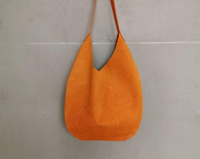 Large leather bag / Leather bag bag / Slouchy Bag / Indian summer orange bag / Hobo Bag / Leather Tote / boho/Dunkelorange