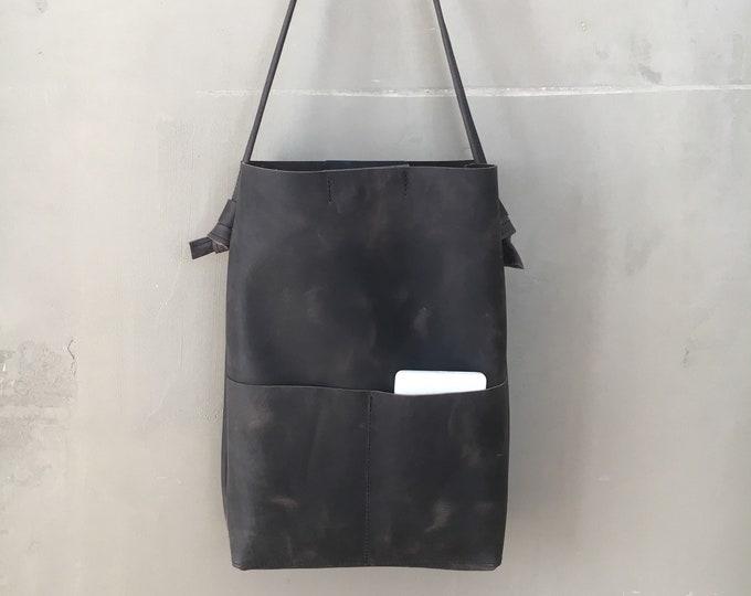 Black leather bag//Dead Bag//Bucket Bag//Leather Shopper//black Shopper Bag//boho