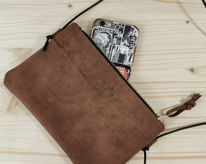 Mini Bag / Crossbody Bag / Brown Leather Bag / Smartphone Bag ) Out of The Bag
