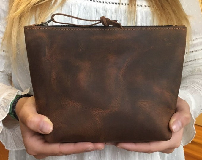 Real leather cosmetic bag, leather culture bag, leather cosmetic bag, brown leather travel case