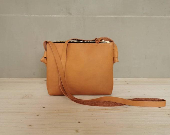 Small crossbody bag = camel brown bag = festival bag = natural tanned bag = leather shoulder bag = minimal