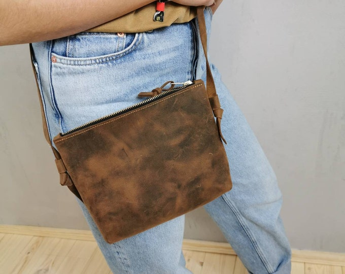 Small crossbody bag = Brown leather bag / Festival Bag = Leather shoulder bag = Pull up leather bag = minimal