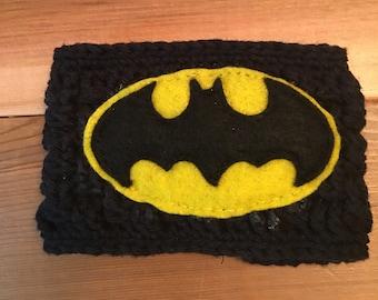 Batman crocheted reusable coffee coozie/sleeve