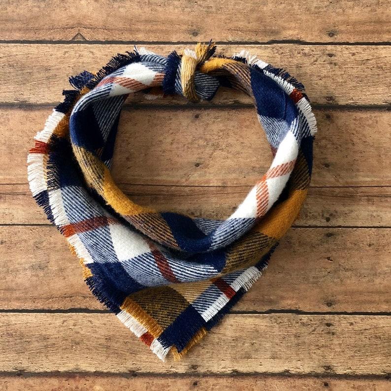 Plaid scarf Dog bandana and matching owner scarf,Navy and tan palid dog owner matching bandana and scarf,Christmas gift