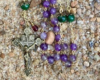 Catholic Rosary, Semi-Precious Amethyst, Emerald, Gold & Bronze, Five Decade Traditional Rosary