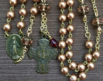 Catholic Rosary, Light Brown 6mm Glass Pearl/Pink Faceted Rondelles, Four-Way Medal Crucifix, Traditional Five Decade