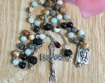 Catholic Rosary, 6mm Natural Amazonite/8mm Silver-Capped Lava Beads, Five Decade