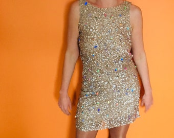 9e4da9afe4b1e Iridescent Vintage sequin holographic mini-dress