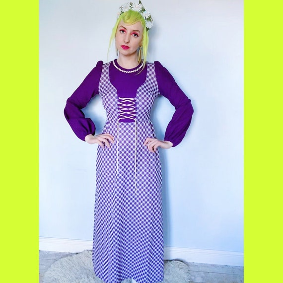 Balloon / puff sleeved 70s hippy maxi dress , purp