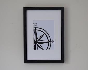 Compass Lino Print
