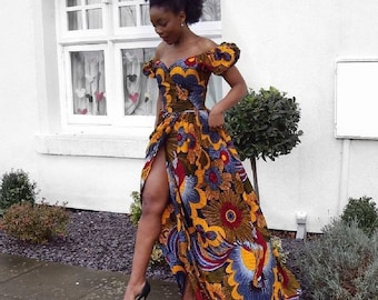 46bbc2bde0a Off Shoulder Elegant African Print Dress